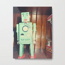 green robot! ~ mid century atomic tin toy Metal Print