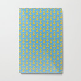 French Country Blue and Gold Ermine Spots Patterned Print Metal Print