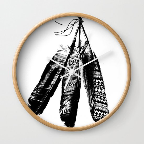 Tribal Feather Trio Wall Clock