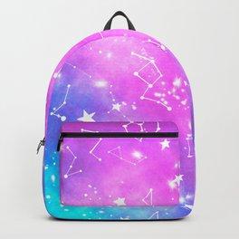 White constellation universe pattern zodiac on purple blue nebula space watercolor Backpack