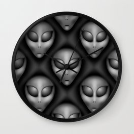 Grey Aliens Pattern Wall Clock