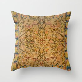Golden Floral 19th Century Authentic Colorful Gold Yellow Green Vintage Patterns Throw Pillow