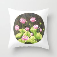 lotus flower Throw Pillows featuring Lotus by Carla Adol