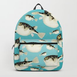 Puffer Fish watercolor Pattern Teal Backpack