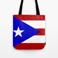 puerto rico Tote Bags featuring puerto rico country flag star by tony tudor