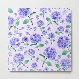 purple blue hydrangea in purple background Metal Print