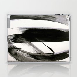 Brushstroke 9: a bold, minimal, black and white abstract piece Laptop & iPad Skin
