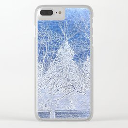 Blue Trees Winter Landscape   Nadia Bonello Clear iPhone Case