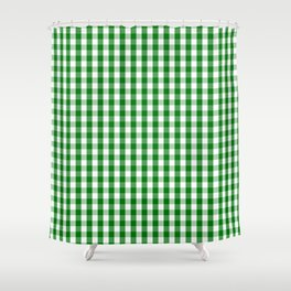 Christmas Green Gingham Check Shower Curtain