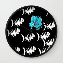 Only Dead Fish Swim With The Stream Wall Clock