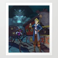 monkey island Art Prints featuring Monkey Island - THINK by Gromy