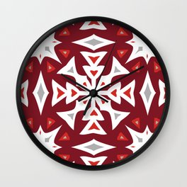 Snowflakes on Red Wall Clock