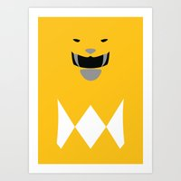 power ranger Art Prints featuring Power Rangers - Yellow Ranger Minimalist by TracingHorses
