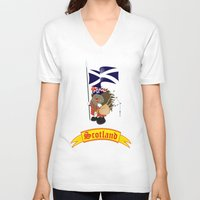scotland V-neck T-shirts featuring Greetings from Scotland by mangulica illustrations