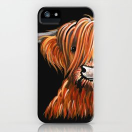 Scottish Hairy Highland Cow ' HARLEY ' by Shirley MacArthur iPhone Case