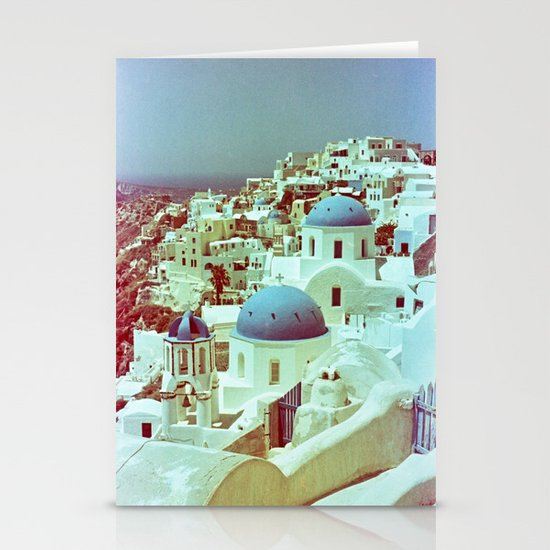 Santorini in Raspberry and Blue: shot using Revolog 600nm special effects film Stationery Cards