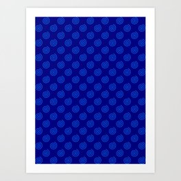 Brandeis Blue on Navy Blue Spirals Art Print