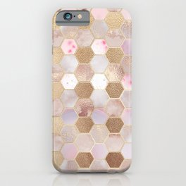 Hexagonal Honeycomb Marble Rose Gold iPhone Case