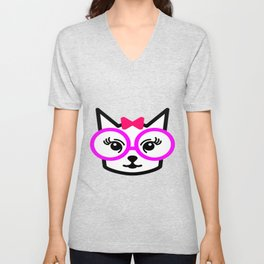 Cute Cat Girl Wearing Glasses Unisex V-Neck