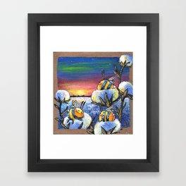 Sunset on the Cotton Field Framed Art Print