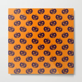 Halloween Orange Cute Pattern Metal Print