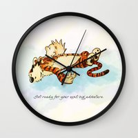 calvin and hobbes Wall Clocks featuring Calvin Rests for Big Adventure by WimpyGeek Art