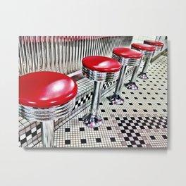 Diner Stools Metal Print