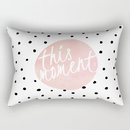 This moment- Polkadots and pink Typography Rectangular Pillow