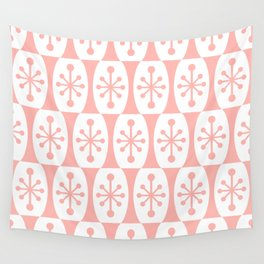 Mid Century Modern Atomic Fusion Pattern Peach Wall Tapestry