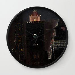 New York City Night Skyline landscape by Georgia O'Keeffe Wall Clock
