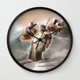 Fat Jesus Surfing Cross - Pizza Taco Bacon Beer Wall Clock