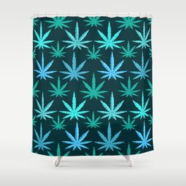 Marijuana Teal Weed Shower Curtain