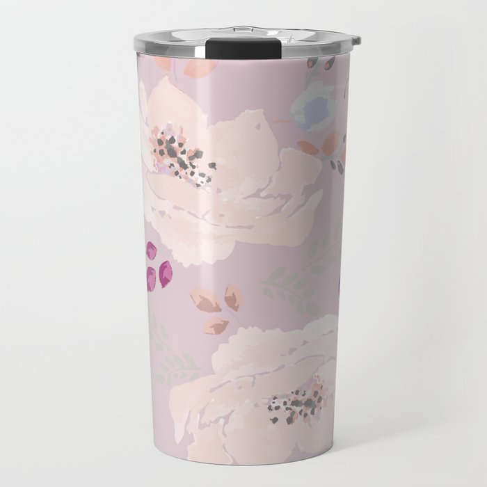 Watercolor blooming roses, tulips, and leaves contrast pinks Travel Mug