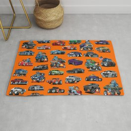 American Hot Rods, Muscle Cars, Street Rods, Pickup Trucks and Motorcycle Cartoons Rug