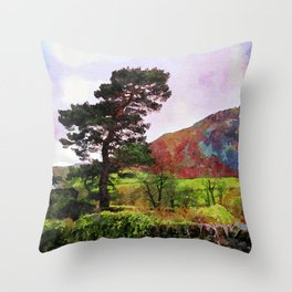 Pine and dry stone wall at Grasmere, Lake District, England Throw Pillow