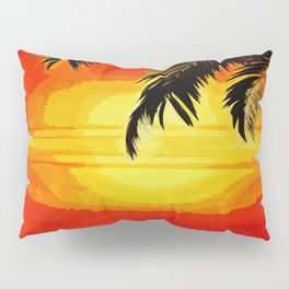 Sunset under the Palm trees Pillow Sham