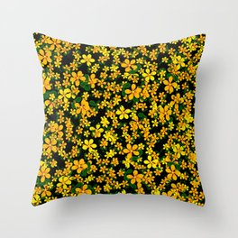 Orange & Yellow Flowers on Black Background Throw Pillow