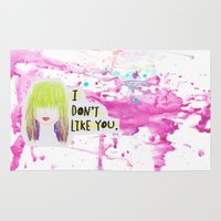 i like you Area & Throw Rugs featuring I Don't Like You by Sam Rogers