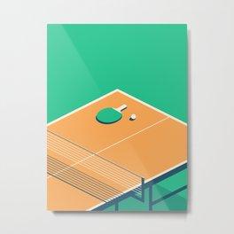 Table Tennis Isometric - Green Metal Print