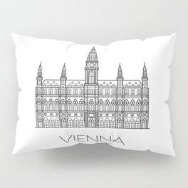 Town Hall Vienna Austria Black and White Pillow Sham