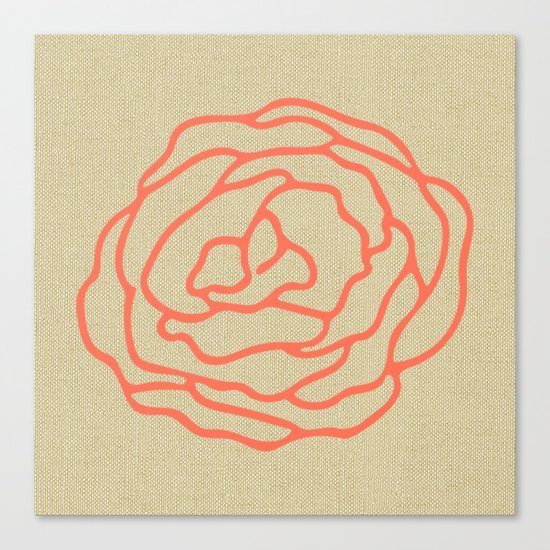 Rose in Deep Coral on Linen Canvas Print