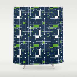 Intersecting Lines in Navy, Lime and White Shower Curtain