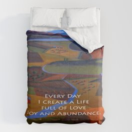 Love, Joy and Abundance Mantra - Cynthia Price Painting Comforters