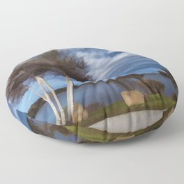 Birch tree by the pond Floor Pillow