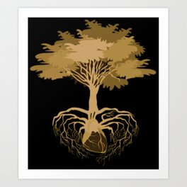 Heart Tree - Orange Art Print