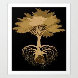 Heart Tree - Orange Art Print