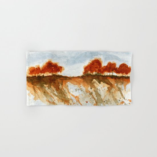 Firebranch Ridge, Watercolor Abstract Landscape Art Hand & Bath Towel