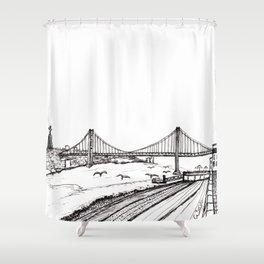 Lisbon - Ponte 25 de Abril - black and white Shower Curtain