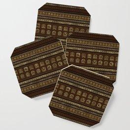 Maya Calendar Glyphs Gold on brown Coaster