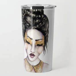Golden Eyes // Fashion Illustration Travel Mug